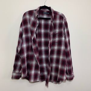 Faded Glory Maroon/White Men's Flannel Button Down